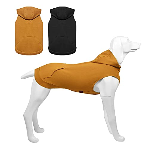 Kickred 2 Pieces Dog Hoodie Sweaters, Spring Dog Vest Sweatshirt with Hat & Pocket & Leash Hole, Basic Pet Clothes Hoodies for Small Medium Large Dogs, L