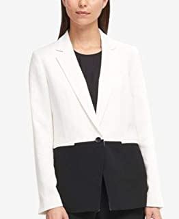 DKNY Womens White Color Block One Button Blazer Jacket US Size: 8