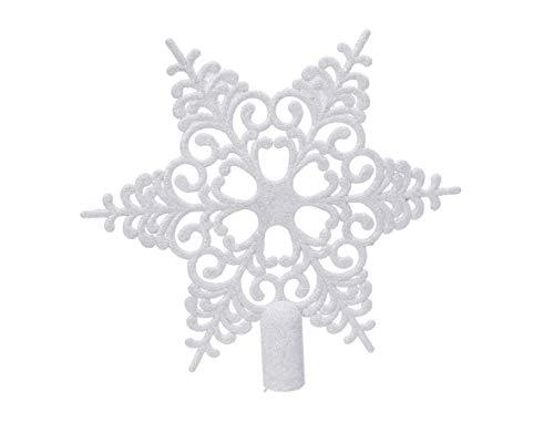 Christbaumspitze Schneeflocke Kunststoff Glitzer 20cm Weihnachtsspitze Tannenbaumspitze bruchsicher weiß