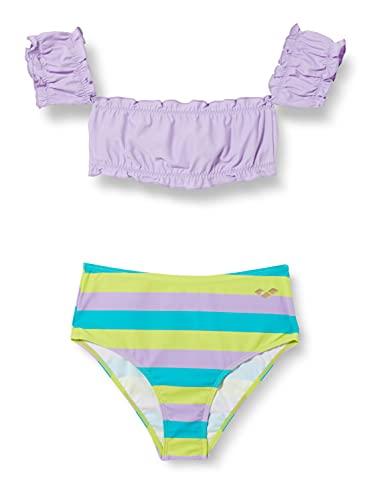 ARENA G Sweetie Jr Crop Top Two Pieces Bikini da Bambina, Lilac-Lilac Multi, 6-7