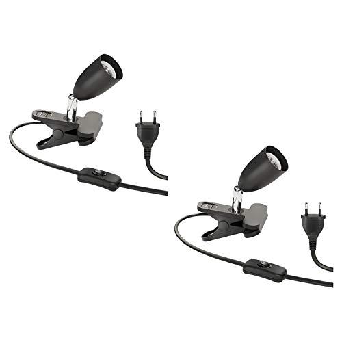 ledscom.de E27 Klemmlampe LIK mit Schalter, dreh- und schwenkbar, Metall, schwarz, 2 Stk.