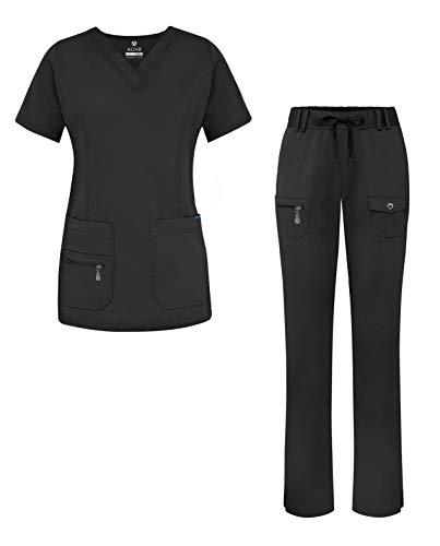 Adar Pro Breakthrough Plus Scrub Set for Women - Enhanced V-Neck Top & Multi Pocket Pants - 4400 - Black - S