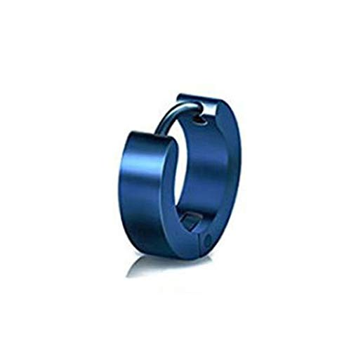Verlike Orecchino Huggie da Uomo 1Pc, Regalo Unisex per Gioielli con Orecchini in Acciaio al Titanio A Cerchio Piccolo Unisex Blu 4 x 9mm