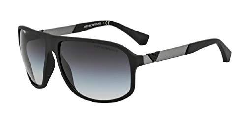 Emporio Armani EA4029 50638G 64M Black Rubber/Grey Gradient Square Sunglasses For Men +FREE Complimentary Eyewear Care Kit