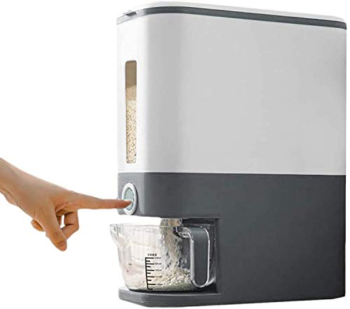 Rice Storage ContainerRice DispenserLarge Sealed Grain ContainerDry Food Dispenser Dry Food Fruit Storage Box For Home and Kitchen Gray