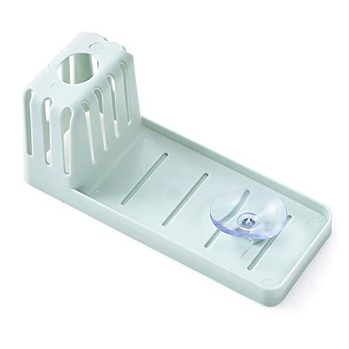 XZJJZ 2 escurridores de fregadero de cocina con ventosa, cesta de almacenamiento de grifo, esponja para esponjas, dispensadores de jabón, depuradores y otros accesorios para lavar platos (color azul)