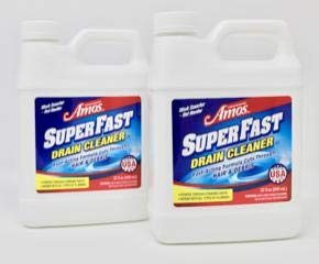 Professor Amos' SuperFast 2-Pack -32oz Drain Cleaner & Drain Opener Liquid, 8-12 Drain Treatments, Dissolve Hair, Dissolve Grease Buildup, Drain Clog Remover, Drain Maintenance, Drain Solutions