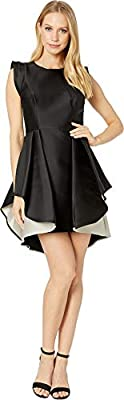 Halston Heritage Women's Structured Cap Sleeve Fit & Flare Dress Cocktail, Black/Champagne, 14