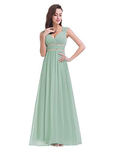 Ever-Pretty Damen Abendkleid A-Linie V Ausschnitt Cocktailkleid rückenfrei lang Minzgrün 48