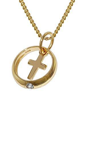 trendor Taufring mit Kreuz Gold 333 an 42 cm goldplattierter Halskette zauberhafter Taufschmuck für Mädchen, Jungen oder Mütter, Geschenkidee zur Taufe, 78278
