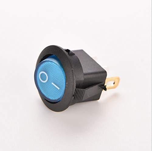 XXYHYQHJD Interruptor de 12V 16A Coche Barco Rocker ON Off de la lámpara/LED Dash SPST de Punto Ligero Ronda de balancín Toggle 4 Colores (Color : Azul, Size : Gratis)