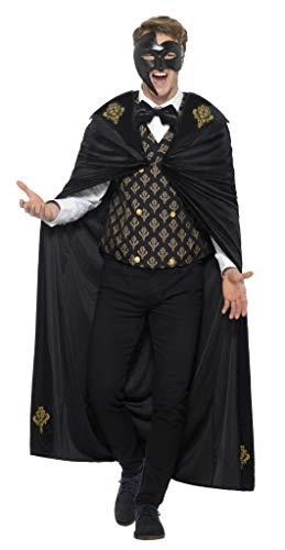 Smiffys Herren Deluxe Phantom Kostüm, Umhang, Weste und Fliege, Größe: L, 48031