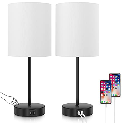 Set of 2 Touch Control Table Lamps Dimmable Desk Lamp with 2 USB Ports & AC Outlet Modern Beside Nightstand Lamp w/ White Fabric Shade Reading Lamp for Bedroom Living Room Office, Bulbs Included