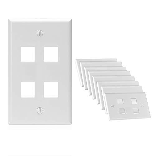 Cmple – 4 Port Keystone Wall Plate Single-Gang Wall Plate with Standard Size Keystone Jack Insert - White - 10 Pack
