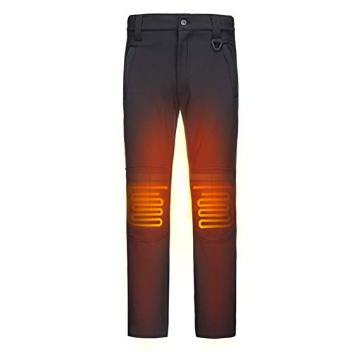 DEWBU Heated Pants with 7.4V Battery Pack Fleece Lined Outdoor Softshell Pants Electric Heating Trousers For Women,Black,S/30 Nebraska