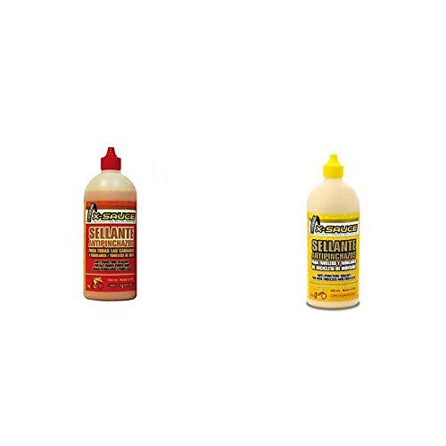 X-Sauce A8487325000298 Sellante Anti pinchazos para Cámaras, Rojo, 500ml + A8487325000120 Sellante Anti Pinchazos para Tubeless, Amarillo, 500ml