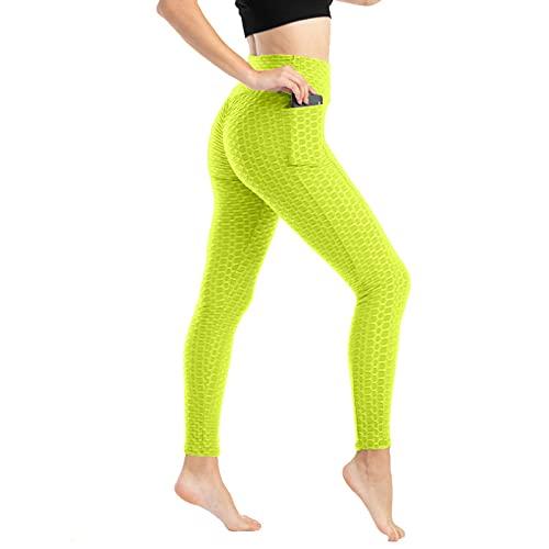 RENDONG Mallas Deportivas Push Up De Malla para Mujer, Leggings De Cintura Alta, Sin Costuras, para Gimnasio,Verde,XXL