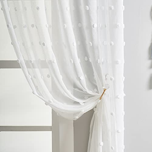 White Sheer Pom Pom Curtains for Girls Bedroom Linen Look Dot Tasseled Farmhouse Boho Voile Semi-Sheer Decorative Window Curtains for Baby Nursery Room, Rod Pocket, Set of 2, 52 x 84 Inches