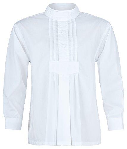 Trachtenland Isar Trachten Kinder Trachtenhemd Samuel mit Stehkragen - Weiß Gr. 98