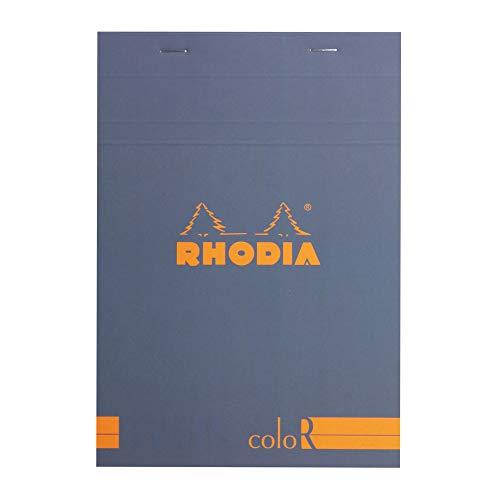 Rhodia 16968C Notizblock (elfenbeinfarbiges Papier, liniert, 90 g, DIN A5 148 x 210 mm, 70 Blatt, mikroperforiert) 1 Stück saphirblau
