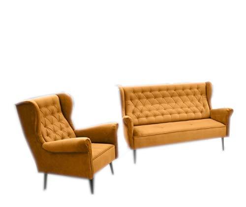 MOEBLO Polstergarnitur Ohrensofa 3 Sitzer Sessel Sofa Couch Garnitur Stoff Samt (Velour) Glamour Wohnlandschaft Chesterfield - Velo (Gold)