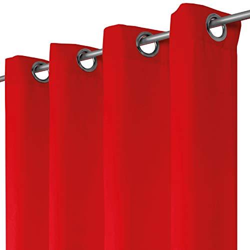 Bestlivings Blickdichte Rote Gardine mit Ösen in 140x145 cm (BxL), in vielen Größen und Farben