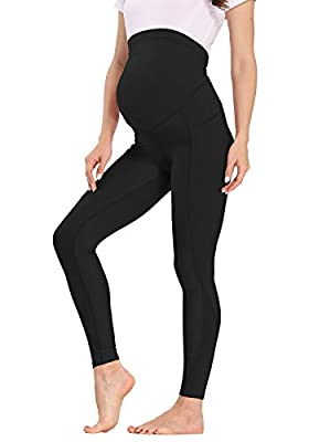 Kegiani Maternity Leggings Over The Belly Active Wear Maternity Clothes for Women Stretch Printed Pockets Pregnancy Yoga Pants 16 Colors Black