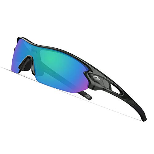 TOREGE Polarized Sports Sunglasses with 3 Interchangeable Lenses for Men Women Cycling Running Driving Fishing Golf Baseball Glasses TR002(Upgrade) (Transparent Gray&Green Lens)