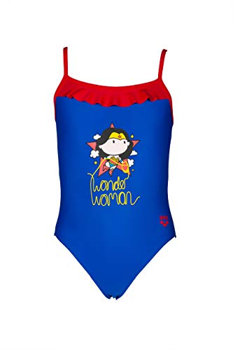 ARENA WB Wonder Woman Rouche Kids One Piece Swimsuit Costume da Bagno, Blu Neon-Rosso, 22 Bambina