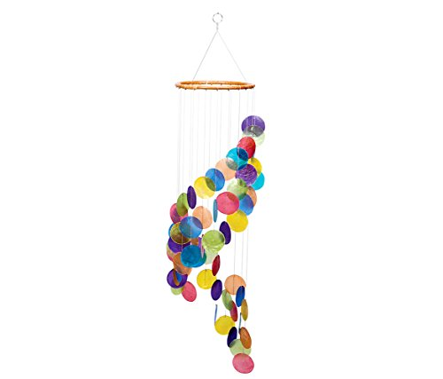 Beachcombers Rainbow Colored Spiral Capiz Chime Windchime New 31.5 Inches