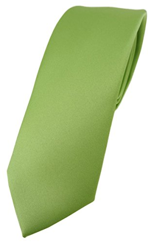 TigerTie schmale Designer Krawatte in hellgrün einfarbig Uni - Tie Schlips