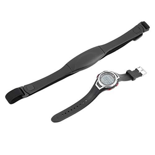 Reloj deportivo impermeable de 3 metros de frecuencia cardíaca, correa de pecho inalámbrica, reloj deportivo para correr, buceo, con luz de fondo y alarma (color: negro)