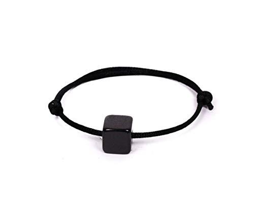 Pulsera shungita con condon con cubo Shungit 6mm.La shungite Escudo Proteccion Radiacion electromagnética EMF nocivas.