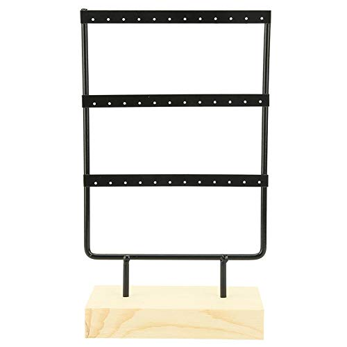 Cafopgrill Sieraden Opslag Rek 36 Gaten Metalen Sieraden Opslag Rek Display Stand Oorbellen Ketting Organizer met Houten Basis