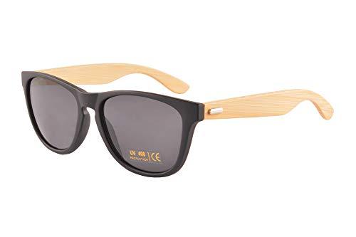 SHINU Gafas de sol polarizadas de madera para mujer, protección UV400, gafas de verano con madera Eyewear-FG6100 Negro mate y bambú natural M