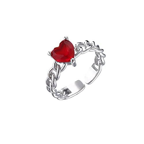 QWKLNRA Anillos Mujer Anillo De Corazón De Amor Exquisito Color Plateado Diamantes De Imitación Rojos Exquisita Piedra Circón Joyería Personalizada Estilo Vintage Regalo para Mujeres