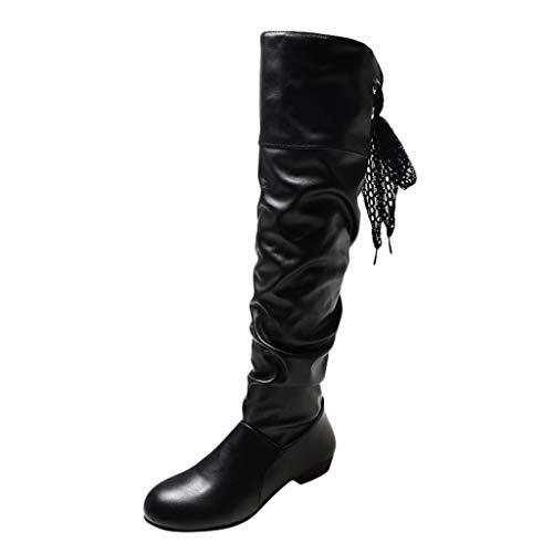 ZODOF Zapatos de mujer Botines Zapatos de mujer tacones altos Botas de mujer sobre la rodilla Señoras Otoño invierno Moda Tramo Faux Delgado Alto Botas(Negro,38 EU)