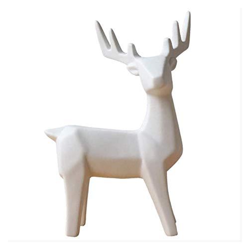 XUANFEI Desktop Sculpture White Deer Statue Ceramic Sculpture Reindeer Doll Home Decoration Accessories Animal Decoration Elk Figurines