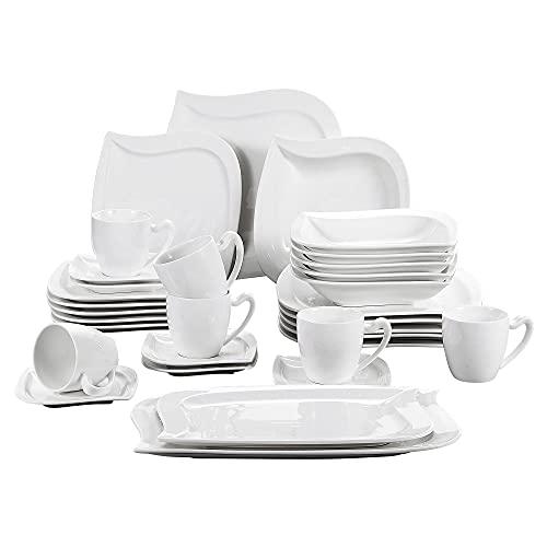 MALACASA, serie Elvira, 32 piezas Vajillas de porcelana,6 tazas de café,6 platillos,6 platos de postre, 6platos hondos,6 plato llano y 2 Plato Rectangular vajilla para 6 personas