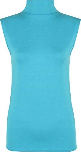 Damen Polo-Kragen, einfarbig, Stretch, ärmellos, figurbetont, Größen 34-40 Gr. 46-48, türkis