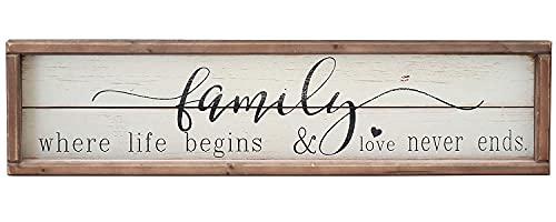 Parisloft Family Where Life Begins & Love Never Ends White Background Wood Framed Wood Wall Decor...