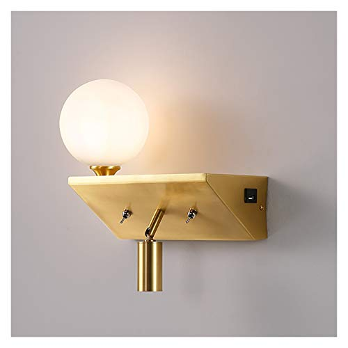 LILIS Luces de pared de cobre lámpara de pared con pequeño foco de iluminación luces decorativas recargable por USB, lámpara de mesita de noche lámpara de pared