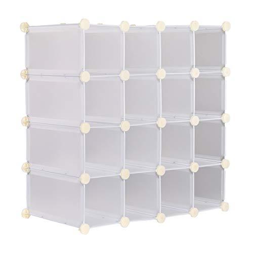 MultiWare Interlocking Shoe Rack Organizer Cube Durable Storage Stand 16 Pairs White