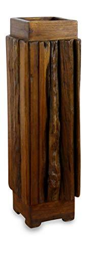 livasia Regenschirmständer aus Teakholz oder Hartholz, Schirmhalter, Schirmständer, Regenschirmhalter (20x20cm Teak)