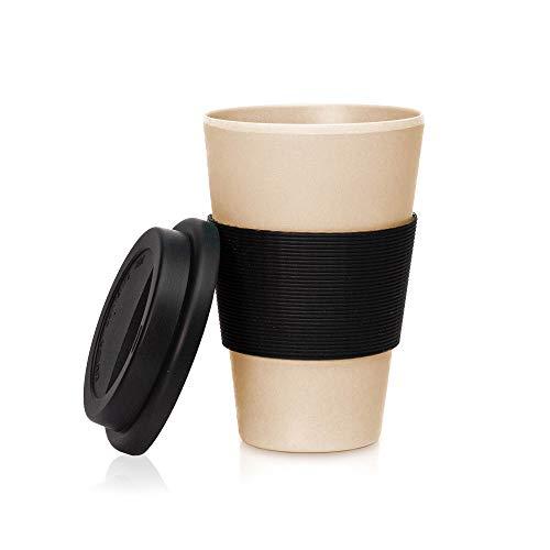 bambuswaldTaza reutilizable de bambú 450 ml|Taza de café para llevar - con tapa de silicona | Vaso sostenible y rellenable: ideal para café, té y otras bebidas- en diferentes colores