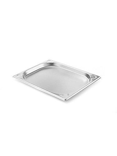 HENDI 806302 Gastronorm Behälter 1/2GN, 1 L, Edelstahl, silber, 32,5 x 26,5 x 2 cm