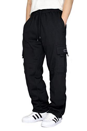 URBANJ Men's Fleece Cargo Sweatpants Heavyweight Size S-5XL (L, Black)