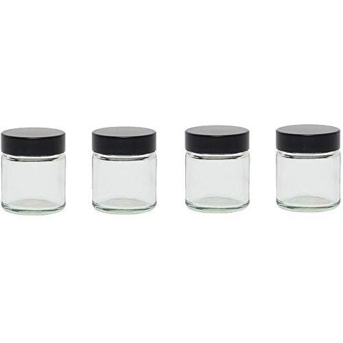 Viva Haushaltswaren - 4 x Glastiegel mit Deckel 30 ml, Mini Glasdosen in Apothekerqualität als Cremetiegel, Schraubdeckelglas, Gewürzglas, Kosmetikdose etc. verwendbar (inkl. Beschriftungsetiketten)