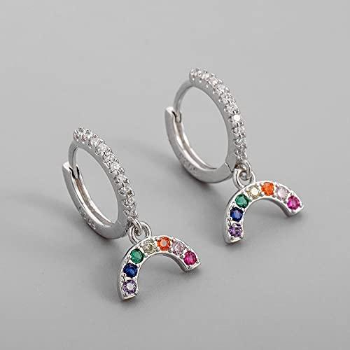DFDLNL Pendientes para MujerPendientes de aro con Colgante de arcoíris para Mujer Pendientes delicados SilverColor