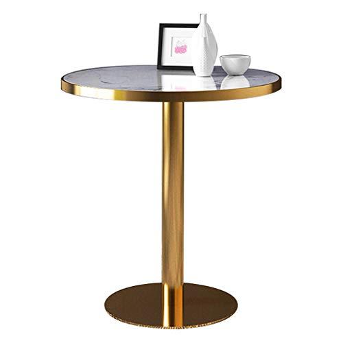 YLMF Hochwertiger Verhandlungstisch aus Marmor, runder Besprechungstisch, Tischbeine aus Edelstahl und stabile Basis, Durchmesser 70 cm, Höhe 75 cm
